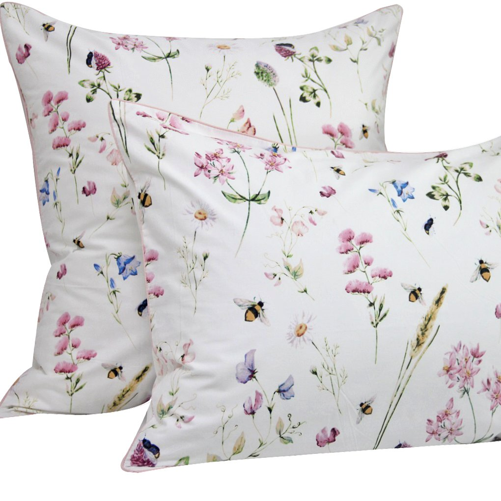 Queen's House Floral Bee Printed Pillowcases Egyptian Cotton-Queen,E