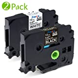 2PK Compatible Brother TZe-335/ TZ-335 Label Tape (White on Black) and TZe-231/ TZ-231 Tape Cassette (Black on White) for Brother P-Touch PT-H101C PT-2030VP PT-1010R Label Printer Etc., 12mm x 8m