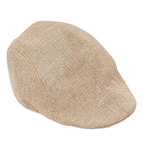 ZHIHONG Mens Vintage Herringbone Flat Cap Irish Driver Hat Newsboy (Beige)