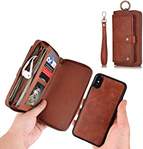 JAZ iPhone XS Wallet Case, iPhone X Wallet Case Zipper Purse Detachable Magnetic 13 Card Slots Money Pocket Clutch Leather Wallet Case Cover for iPhone X(2017) /iPhone XS(2018) 5.8 Inch - Brown