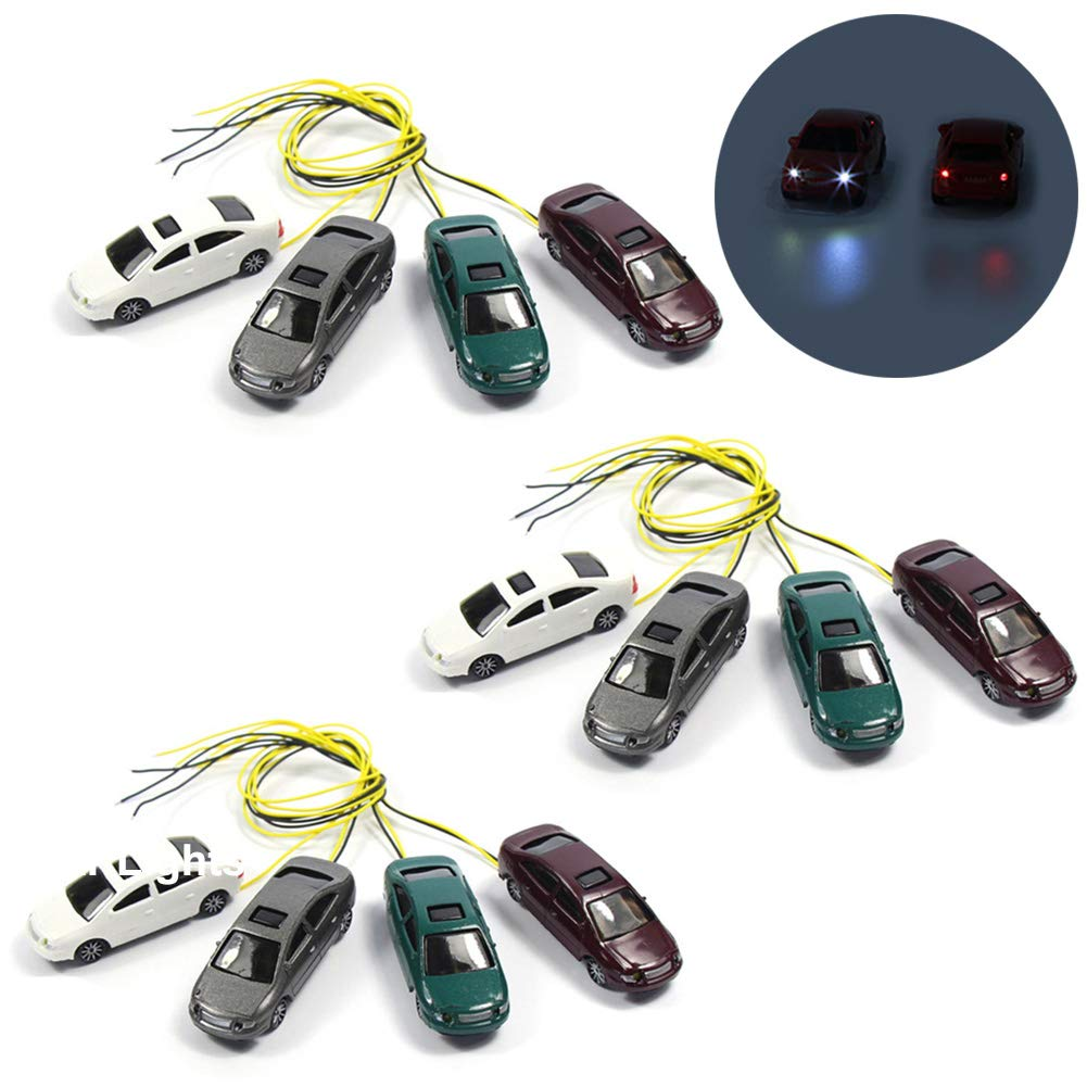 ec100 12個1 : 100スケールモデルTT Lighted Car with 12 V LEDライトの建物レイアウト新しい   B07DW7VX8Z