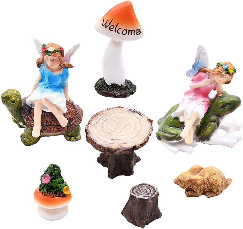 HoDrme Fairy Garden Accessories-Miniature Resin Fairy Figurines and Furnitures-Fairy Garden Starter Kit of 7 Pieces