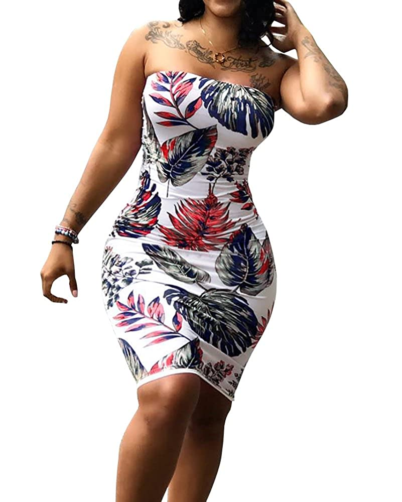 656d80ae59 Amazon.com  Imily Bela Womens Floral Strapless Off The Shoulder Bodycon Tube  Top Midi Dress Plus Size  Clothing