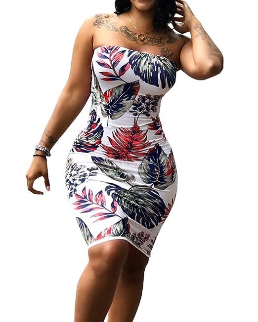 Womens Boho Bandeau Dresses Summer Beach Strapless Floral Bodycon Club  Dress Plus Size