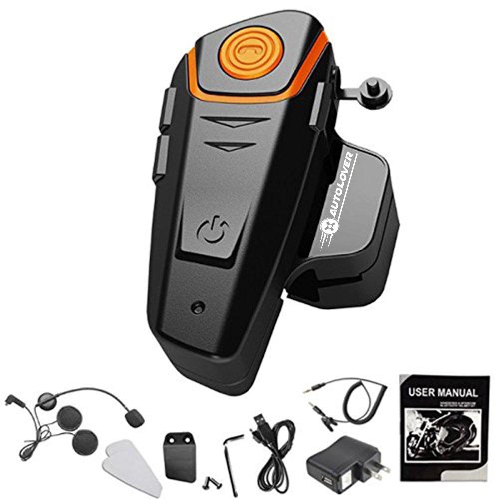 AUTOLOVER BT-S2 1000M Motorbike Bluetooth Headset, Motorcycle Helmet Intercom Interphone and Audio for MP3 Player/GPS/Walkie-Talkie, Hands Free & FM Radio (Single)