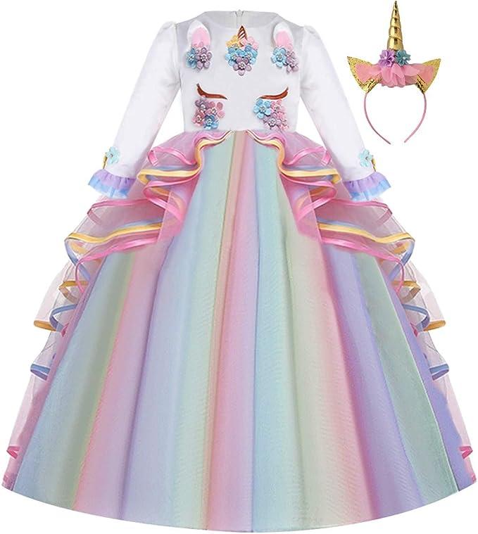 FMYFWY Niña Vestido de Unicornio Princesa Cumpleaños Manga Larga ...
