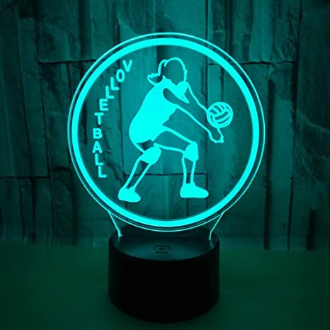 3D Optical Illusion LED Night Light Volleyball Player, 7 ...
