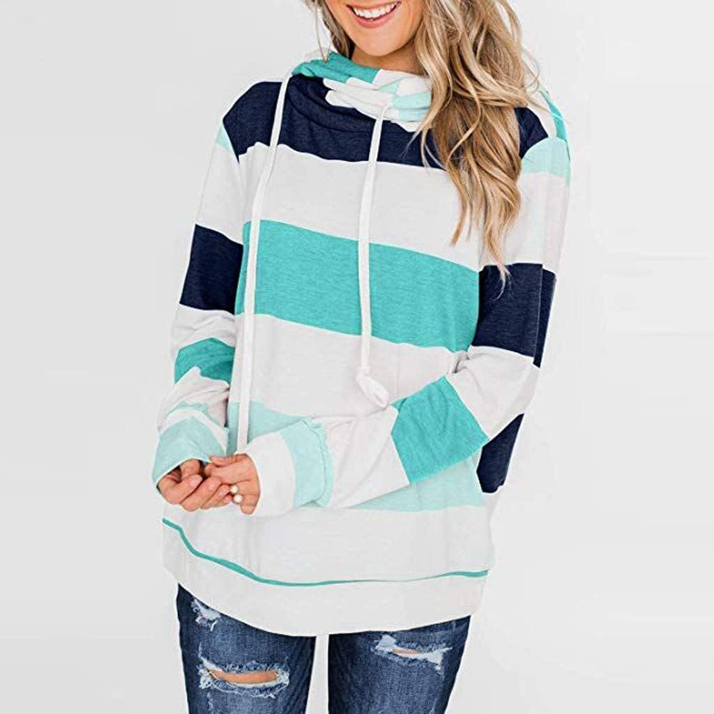 Hurrybuy Womens Cowl Neck Color Block Striped Tunic Sweatshirt Drawstring Pullover Tops
