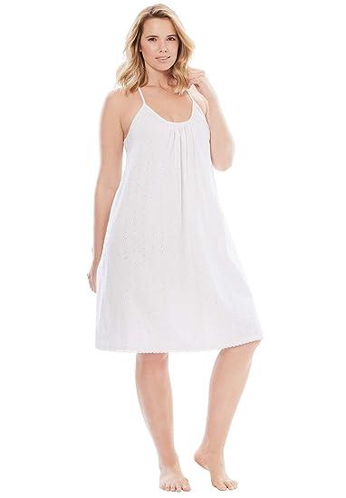 Dreams & Co. Women\'s Plus Size Breezy Eyelet Short Nightgown