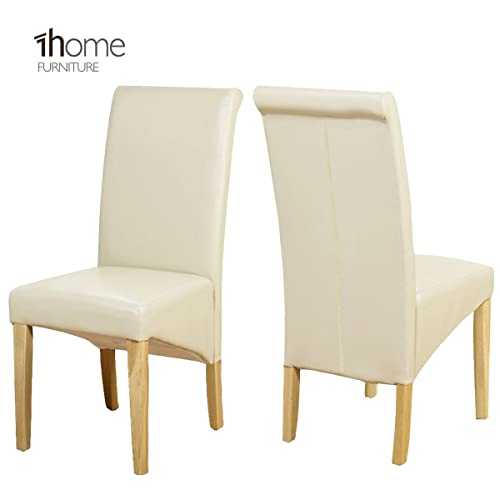 Set Of 2 Cream Faux Leather Scroll Top Dining Chairs With