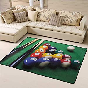 Indoor Area Rugs, Manly Billiard Pool Balls Snooker for Living Room Home Decor Rugs, 6' W x 9' L