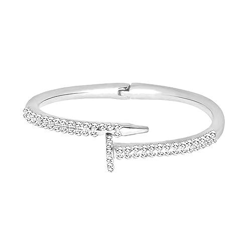 2363544ea Amazon.com: Robert Reyna fashion diamond bracelet popular jewelry boutique,  White + Silver: Jewelry