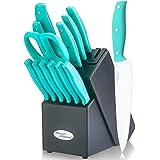 Knife Block Set, 14 Piece Kitchen Knife Set with Wooden Block, Stainless Steel Knife Set, Built-in Knife Sharpener, 6pcs…