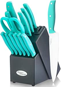 Amazon Com Knife Block Set 14 Piece Kitchen Knife Set With Wooden Block Stainless Steel Knife Set Built In Knife Sharpener 6pcs Steak Knife Kitchen Scissor Chef Knife Inside Turquoise Kitchen Dining
