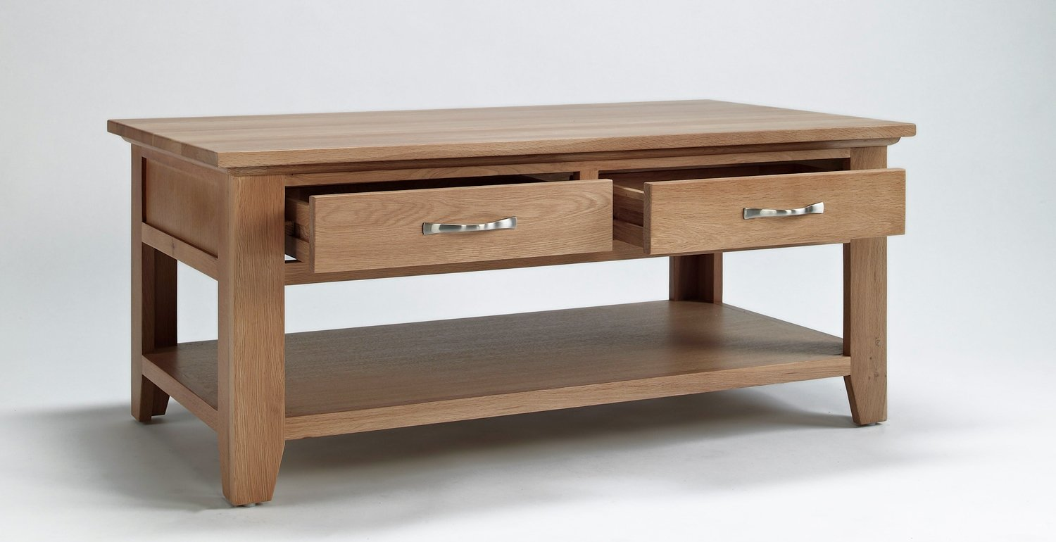 Nottingham Oak Living Room Furniture Coffee Table With Drawer  ~ Oak Sofa Table With Storage
