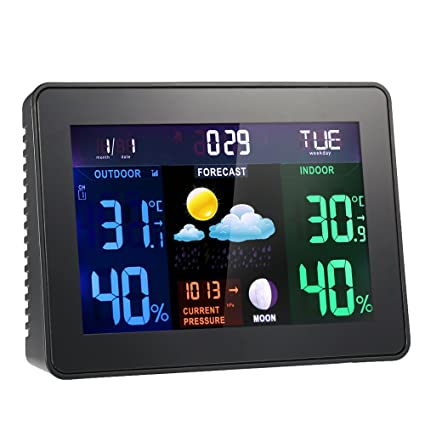 Anself - Multifuncional LCD Reloj Digital Inalámbrico Estación de Exterior Interior, Termómetro Higrómetro Barómetro con