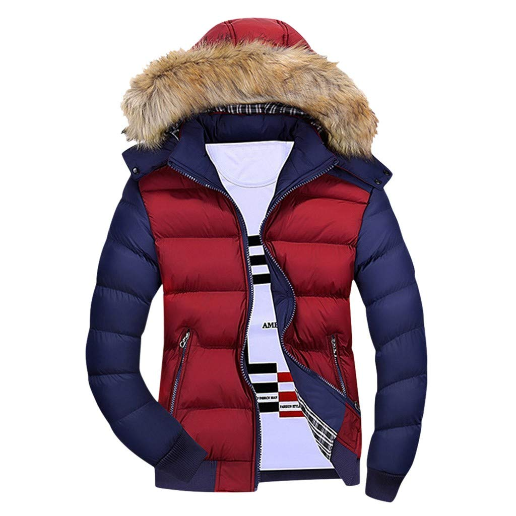 TIFENNY Cotton Jackets for Men Casual Winter Solid Warm Zipper Long Sleeve Hooded Patchwork Jacket Coat Outwear Tops by TIFENNY_Shirts