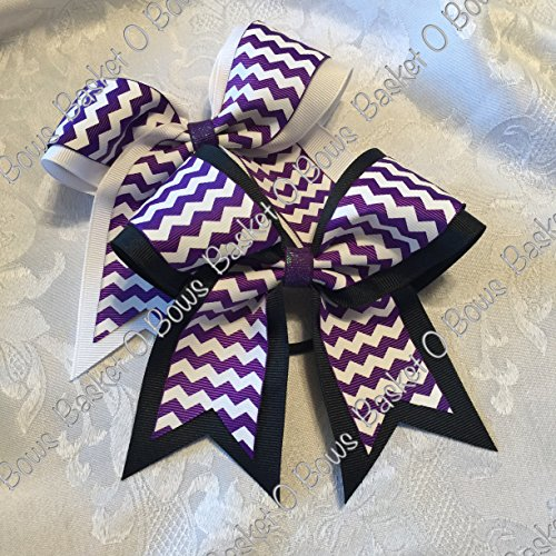 Small Bow ~ REGAL PURPLE with WHITE Chevron Hair Bow ~ 2-layer ~ Made to Order (Baskets Made To Order)