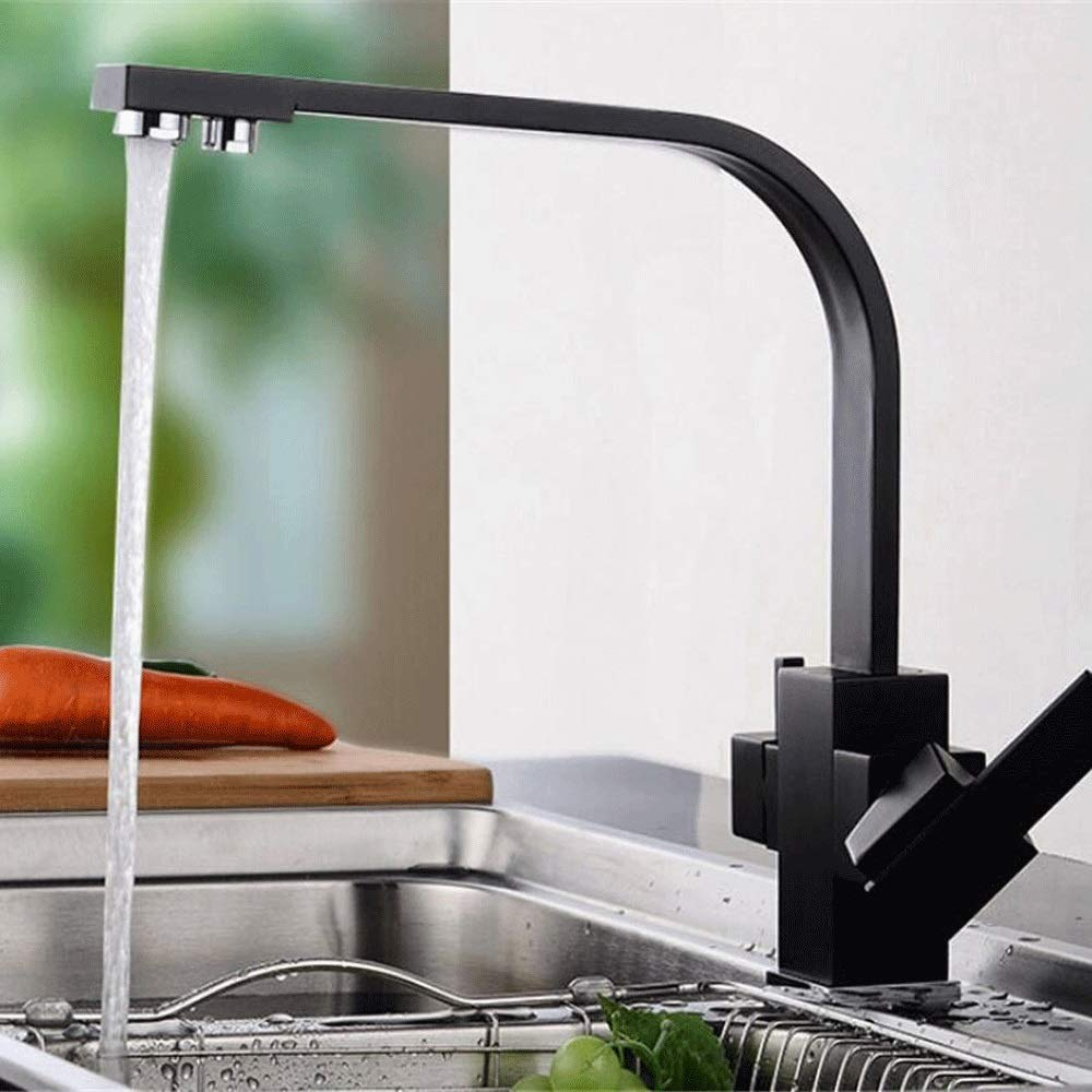 MMPY Reverse Osmosis Sink Mixer Faucet Water Filter Brass Seat Black Paint Kitchen Sink Faucet Wrench Single Faucet