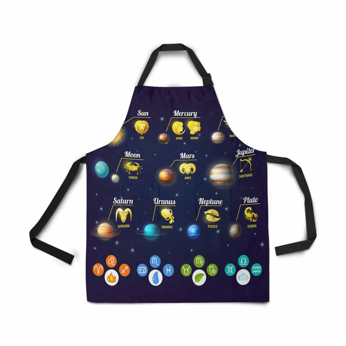 InterestPrint Adjustable Bib Apron for Women Men Girls Chef with Pockets, Zodiac Solar System Sun Earth Novelty Kitchen Apron for Cooking Baking Gardening Pet Grooming Cleaning