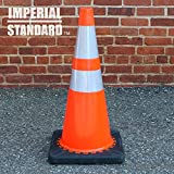 Traffic Cones - Safety Cones - (2 Pack) 28'' Orange Cones with 2 Reflective Collars - Construction Cones - Road Cones - Parking Cones - Street Cone
