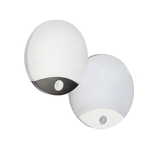 Lámpara LED de techo pared pared con sensor PIR Movimiento 10 W luz 4000 K – acabado blanco/negro