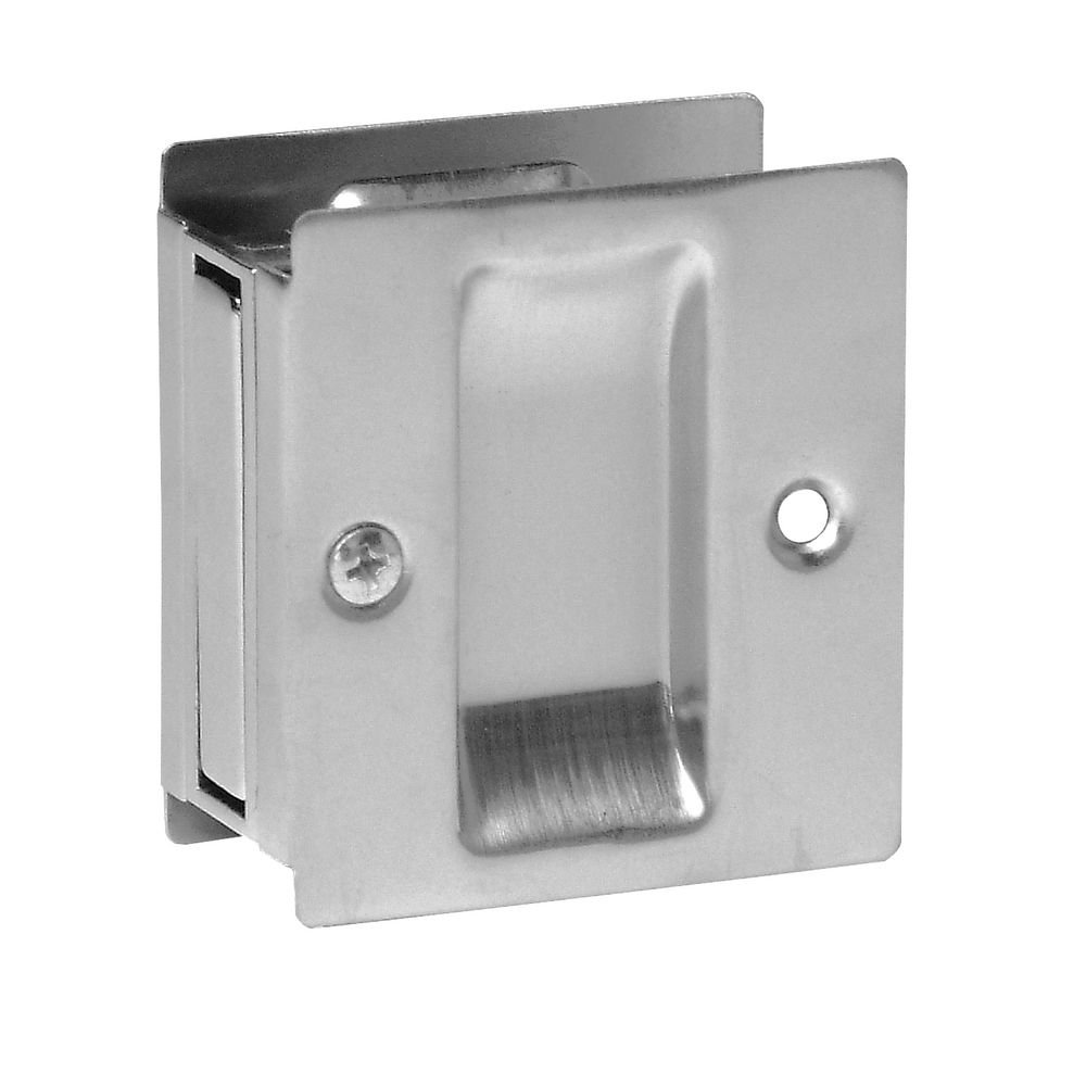 Don-Jo PDL-100 Passage Pocket Door Lock, Clear Coated Satin Nickel Plated, 2-1/2'' Width x 2-3/4'' Height (Pack of 10)