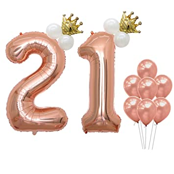 Number 21 Balloons Rose Gold