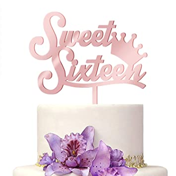 2019 New 16 Cake Topper Rose Gold Cupcake Sweet Sixteen Crown Decoration Happy Birthday Cake Acrylic