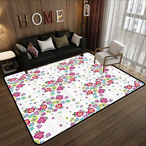 Bedroom Rugs,Floral,Colorful Blooming Flowers Poppies Spring Nature Pattern on White Background Print,Multicolor 71