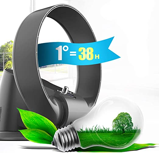 Plateado//Negro Fan Fan Ventilador Sin Aspas Ventilador De Pared Sin Hojas Ultra Silencioso con Control Remoto//Temporizador 7 Velocidades