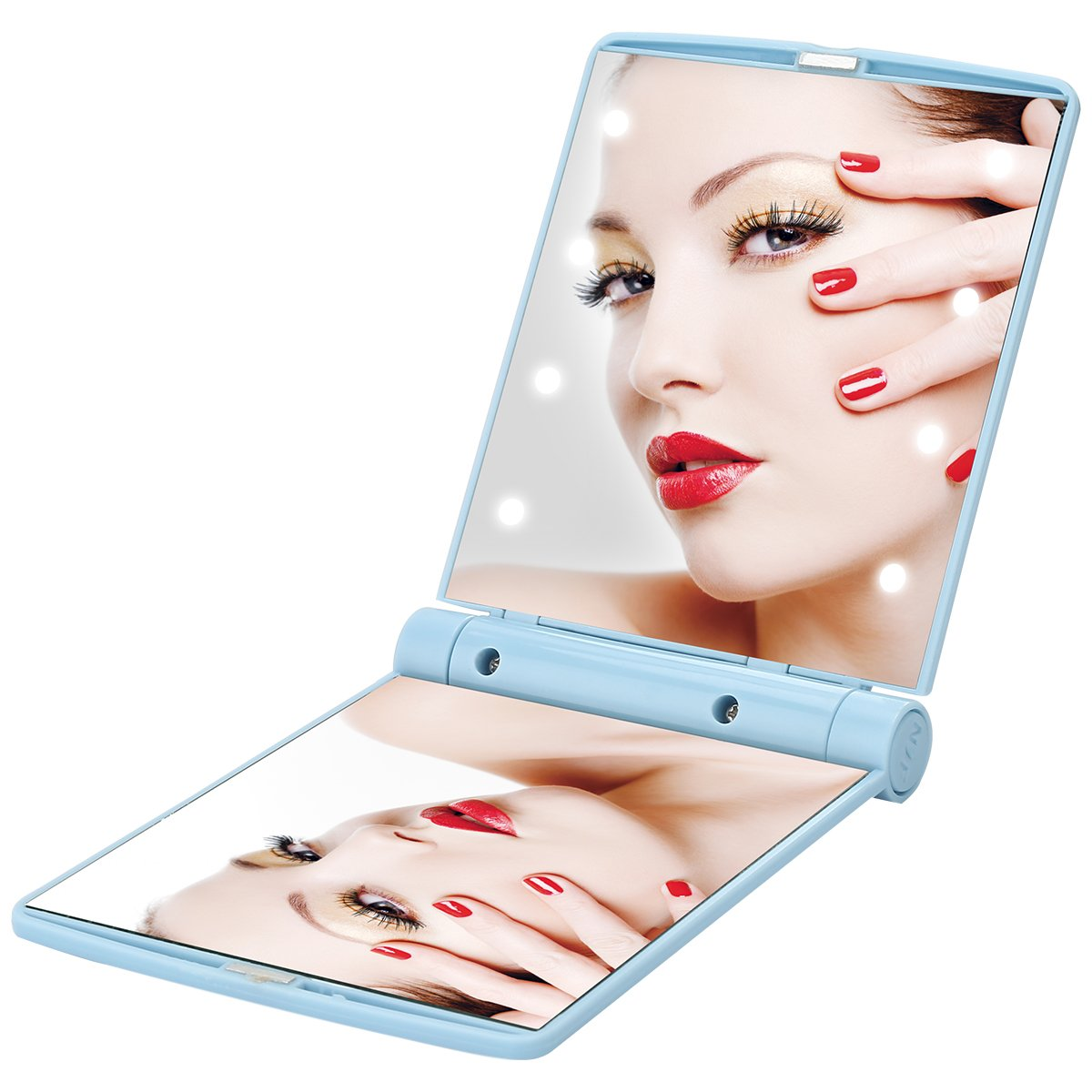 Lighted Folding Tavel Mirror Compact Led Mirrors Handheld Makeup Mini Portable Cosmetic Pocket Small Purse Size Bright Light Up In Dark Focus Illuminated For Girls (Blue)