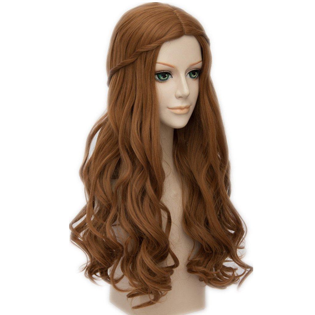 MSHUI Alice in Wonderland Alice Anime Cosplay Wig Long Brown Wavy Fluffy Hair