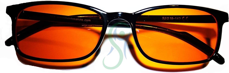 Movimento Salute Lens Occhiali per favorire Il Sonno con Lenti Neutre e Filtro 100/% Anti Luce Blu e UV prevengono linsonnia