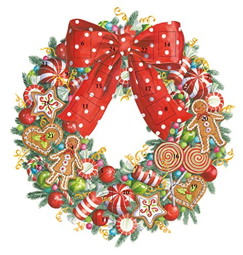 Entertaining with Caspari ADV262 Candy Wreath Advent Calendar, 1Count, Multicolored ()