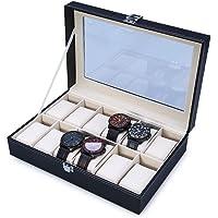 YL TRD Caja Reloj Joyas 12 Grids Organizadora, Estuche de reloj de cuero de PU para hombre y mujer (negro)
