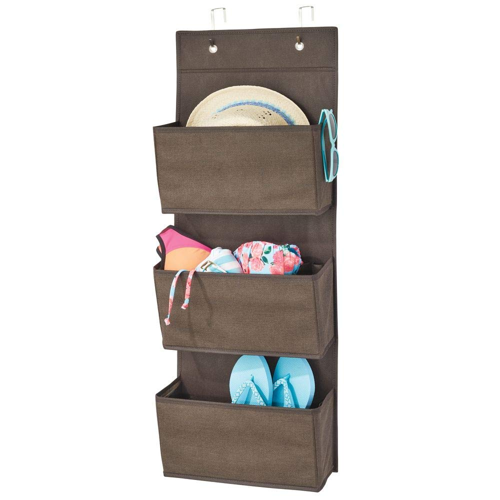 mDesign Soft Fabric Over The Door Hanging Storage Organizer with 3 Large Pockets for Closets in Bedrooms, Hallway, Entryway, Mudroom - Hooks Included - Textured Print - Espresso/Brown MetroDecor 02001MDCO