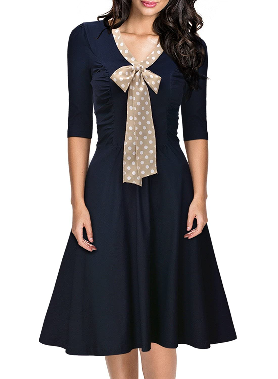 Miusol Women's Vintage 3/4 Sleeve Navy Style Belted Retro Evening Dress