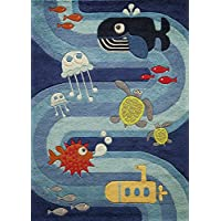 Momeni Rugs LMOJULMJ21BLU3050 Lil Mo Whimsy Collection, Kids Themed Hand Carved & Tufted Area Rug, 3 x 5, Multicolor Ocean Animals on Blue