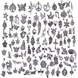 Arts & Crafts : Hraindrop Wholesale 100 Pieces Mixed Pendants Charms for Jewelry Making and Crafting - Smooth Tibetan Silver Bulk Charms DIY For Jewelry Making