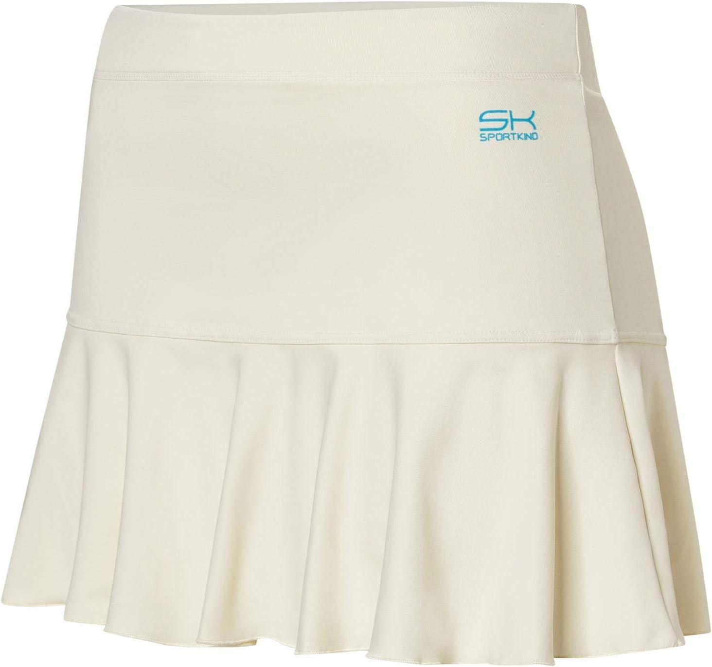 Sportkind Jupe de tennis cloche pour fille et femme avec pantalon intérieur Blanc Crème/Vanille.