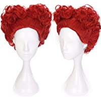 Ani·Lnc Wig Red Queen Wig Cosplay Short Spiral Curly Hair Heart Shaped Wig Halloween Costume Anime Wig for Girls Women