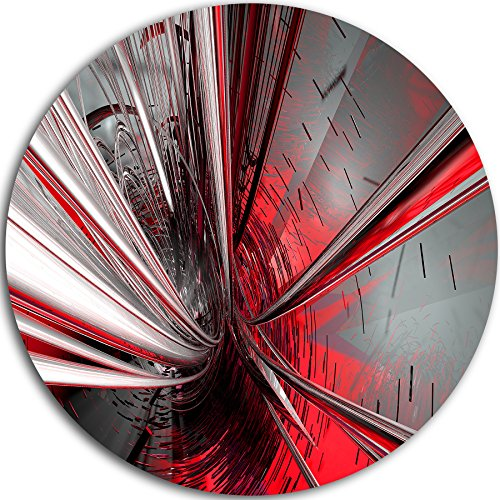 Designart MT9201-C38 ''Fractal 3D Deep into Middle Abstract Art Disc'' Metal Wall Art, 38'' x 38'', Red by Design Art