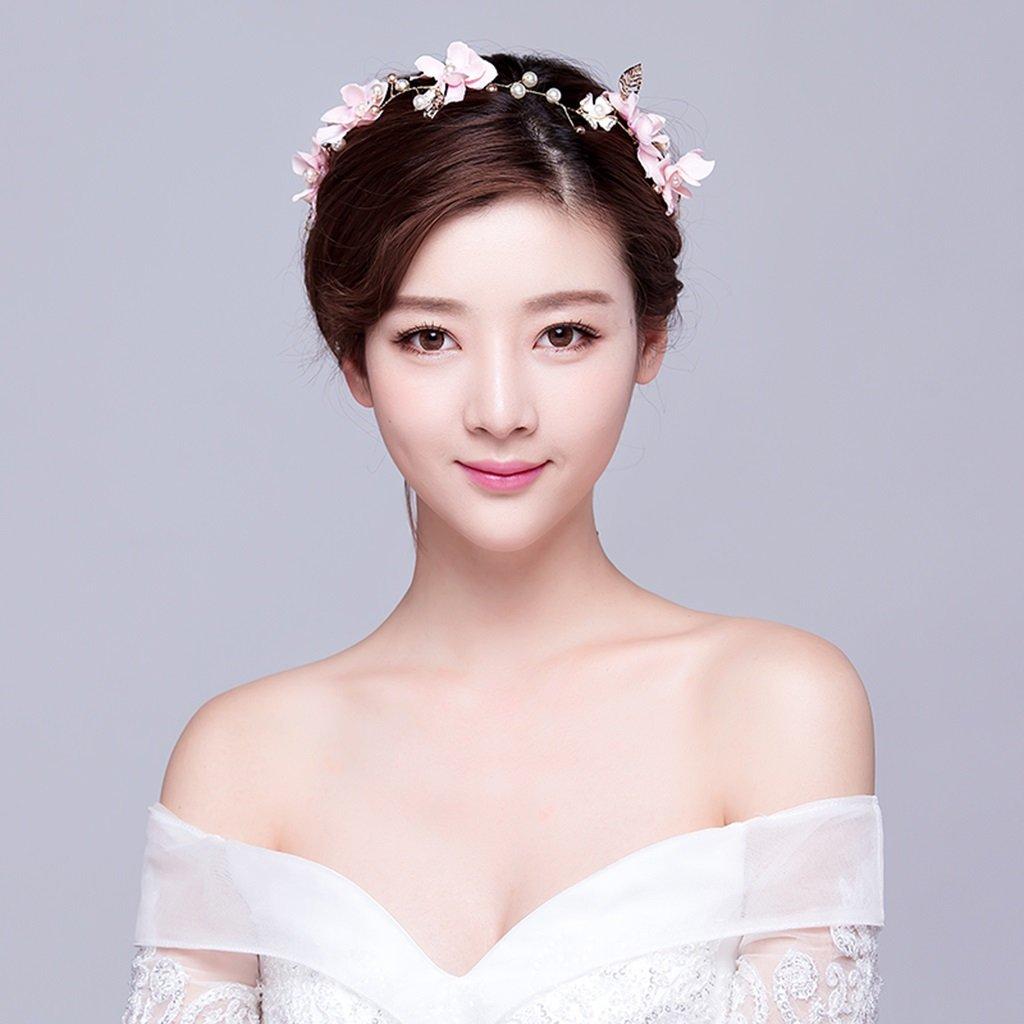 Wreath Flower, Headband Flower Garland Handmade Wedding Bride Party Ribbon Headband Wristband Hairband-Blue (Color : Pink)
