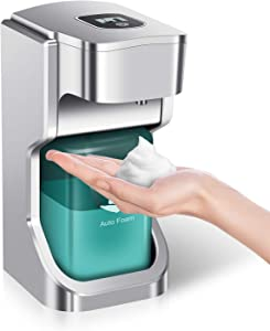 Automatic Foam Soap Dispenser, 500ml LCD Touchless Hand Sanitizer Dispenser with Adjustable Volume Control Switches, Electric Sensor Waterproof Liquid Dispenser for Kitchen Restaurant Office