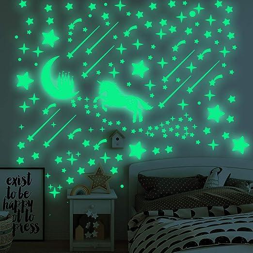 50 Glow In The Dark Stars and Moon Plastic Stickers 4 Ceilings /& Walls Bedroom