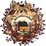 Primitive Home Decor Pre-Lit Primitive Country Rustic Rattan Burlap Home Sweet Home Lighted Wreath, Red