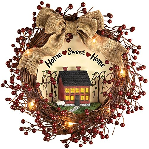 pre lit primitive country rustic rattan burlap home sweet home lighted wreath red - Primitive Christmas Decor