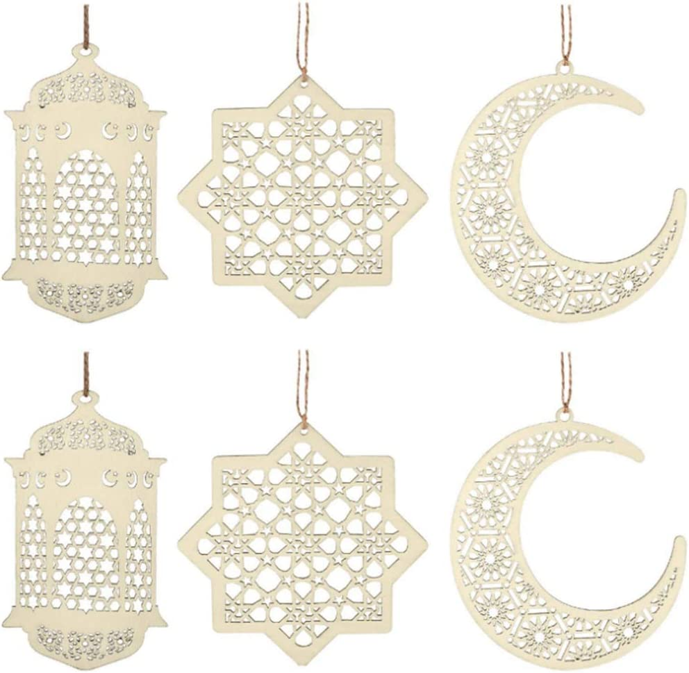 6 Pieces Wooden Pendant Ramadan Ornament Kareem Decoration Moon Star Hanging Decoration for Muslim Islam Festive Home Room Decoration…