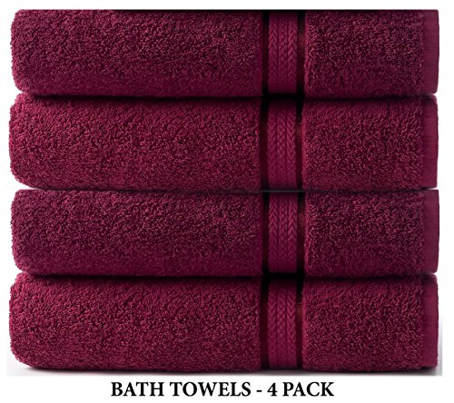 Cotton Craft Ultra Soft 4 Pack Oversized Extra Large Bath Towels 30×54 Burgundy Weighs 22 Ounces – 100% Pure Ringspun Cotton – Luxurious Rayon Trim – Ideal for Everyday use – Easy Care Machine wash